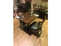 14 Restaurant chairs dark brown Leather seats in very good condition hardly used