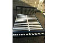 Back wooden king size bed with mattress