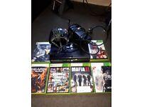 Xbox 360 slim black 4gb, games
