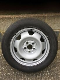"""VW T5 new 17"""" steel wheel and used tyre"""