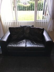 Sofa black leather 3 seater & 2 seater in good condition