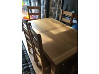 Solid wood large dining table and six chairs
