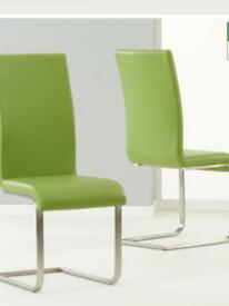 2 lime green dinning room chairs