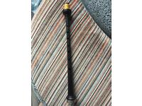 D Naill, solo bagpiper chanter, Blackwood with silver engraved band