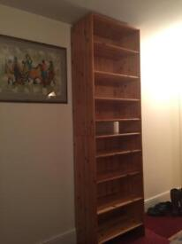 Two pine solid stackable or separate bookcases