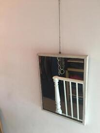 Vintage mirror white / grey frame