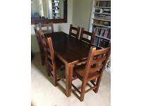 Solids dark Oak table & 6 chairs