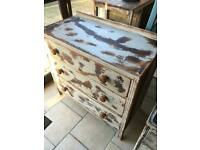 Vintage Distressed solid wood Drawers W83 D43 H77 Cm Great cool look.