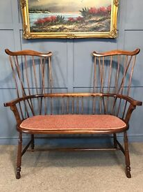 Mahogany Antique Hall Bench - Stick Back Love Bench - Windsor Sofa - UK Delivery Available