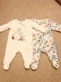Mothercare 0-3 m sleep suits
