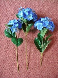 3 Large Blue Artificial Hydrangea Flowers for Flower Arrangement or Vase