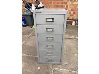 Bisley- slim 6 Drawer Filing Cabinet Gray
