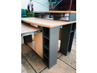 Computer desk home office table workstation - Good condition with storage spaces, keyboard platform