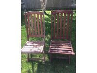 2x Wooden Garden Chairs