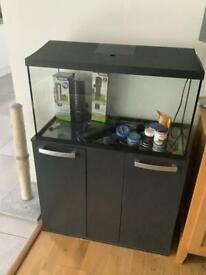 Fish Tank and Grey Cabinet