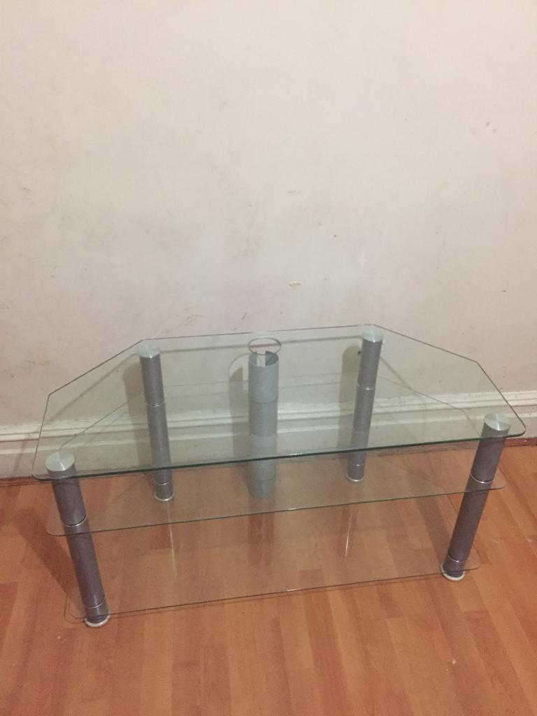 A glass TV LCD table