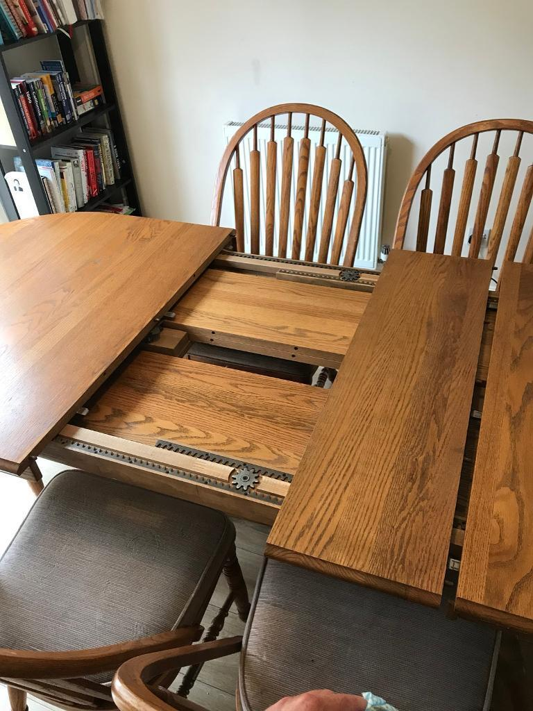 Solid Oak Dining Table Chairs And Buffet Sideboard In