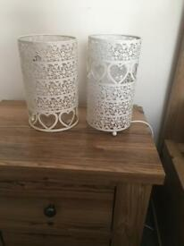 Next cream heart lampshade and matching side table lamps