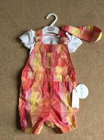 M&S baby girl 18-24 month dungarees, bodysuit & headband set, brand new - tags RRP £16 (ideal gift)