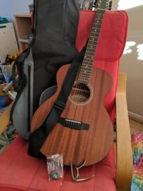 James Neligan Dev-A Acoustic Guitar with Solid Mahogany Top. Includes a bag, strap, capo and picks