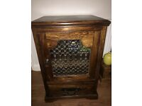 Beautiful Solid Dark Sheesham Wood and wrought iron cabinet.