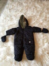 Designer Junior J all-in-one jacket - boys navy blue one-piece 0-3 months