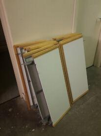 Solid wooden shelves including metal frame.