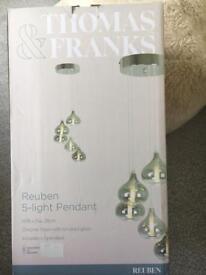 Brand New - Reuben 5 Light Pendant - Smoked Glass