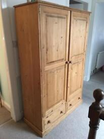 Large Wooden (Pine) Bureau 2 Drawers and Cloths Rail