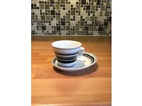 Black/whit/grey striped espresso cup and saucer