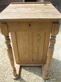 ANTIQUE PINE DESKS. (1) TEACHER'S / CLERK'S WITH CUPBOARD (2) SCHOOL . Delivery poss. ALSO CHAIRS.