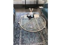 Glass silver round coffee table