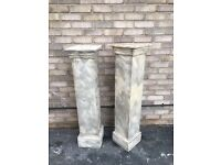 PILLARS PLINTHS PLANT STAND WOOD SHOP DISPLAY INDUSTRIAL GREY STONE EFFECT