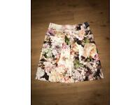 Cream/pastel coloured floral A-Line Skirt - Size 6