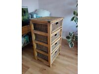 Lovely tall solid tall wicker-type chest of drawers - possibly oak