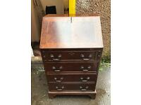 VINTAGE SOLUD WOOD BUREAU / DESK WITH KEY AND LEATHER TOP