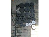91.3kg Vinyl Weights Set with Barbell & Dumbells (dumbells, bench, press, squat, rack, dumbbells)
