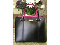 Brand New Genuine Kate Spade Elodie handbag in black and cerise