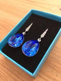 Blue Swarovski Crystal Earrings - Blue Wedding Jewellery - Special Occasion