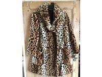 TOPSHOP Leopard print faux fur coat U.K 12 excellent condition