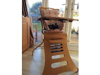 Wooden high chair / booster chair that can be used from 6 months to 5 years