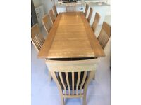 Natural Oak 10 seater extending dining table and 10 chairs