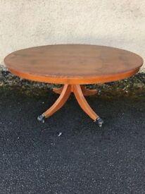 Yew wood tilt up coffee table
