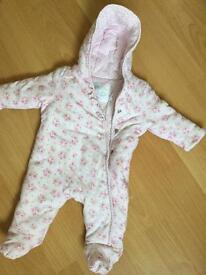 Baby girl pramsuit - 0-3 months