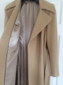 M&S Ladies camel coat wool/cashmere beautiful condition size 16