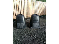2 black plastic compost bins