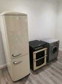 SET- Gorenje Retro Cream Fridge Freezer, Cannon Retro Cream Electric Cooker, Samsung Washing Machine