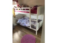 White wood bunk beds