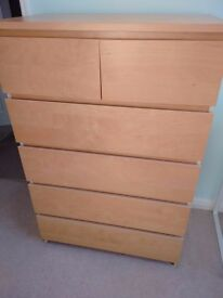 Ikea malm 6 drawer chest of drawers in birch