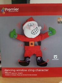 BRAND NEW BOXED WITH BATTERIES - SANTA CLAUS SINGING & DANCING WINDOW CLING CHARACTER